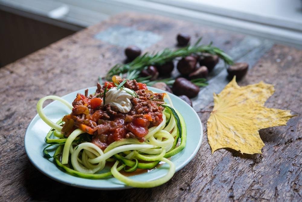 Pasta courgetti met bolognesesaus